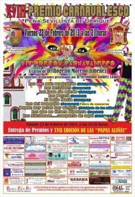 Cartel actos actividades carnaval 2013 en la Peña Sevillista