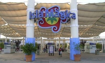 Seville, Andalusia (Spain). Isla Mágica Fairground. Main Entrance.
